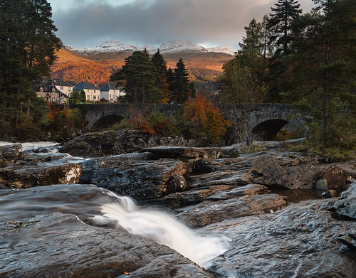 fallsofdochart killin waterfall longexposure morning sunrise gold golden water river rocks landscape bridge trees sky nikon d810 nikond810 2470mm 40mm nikkor2470mm nikkor2470mmf28