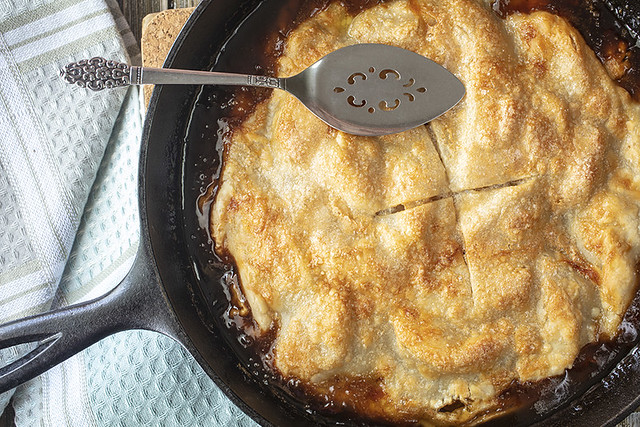Golden Crusted Apple Pie Made In A Cast Iron Skillet