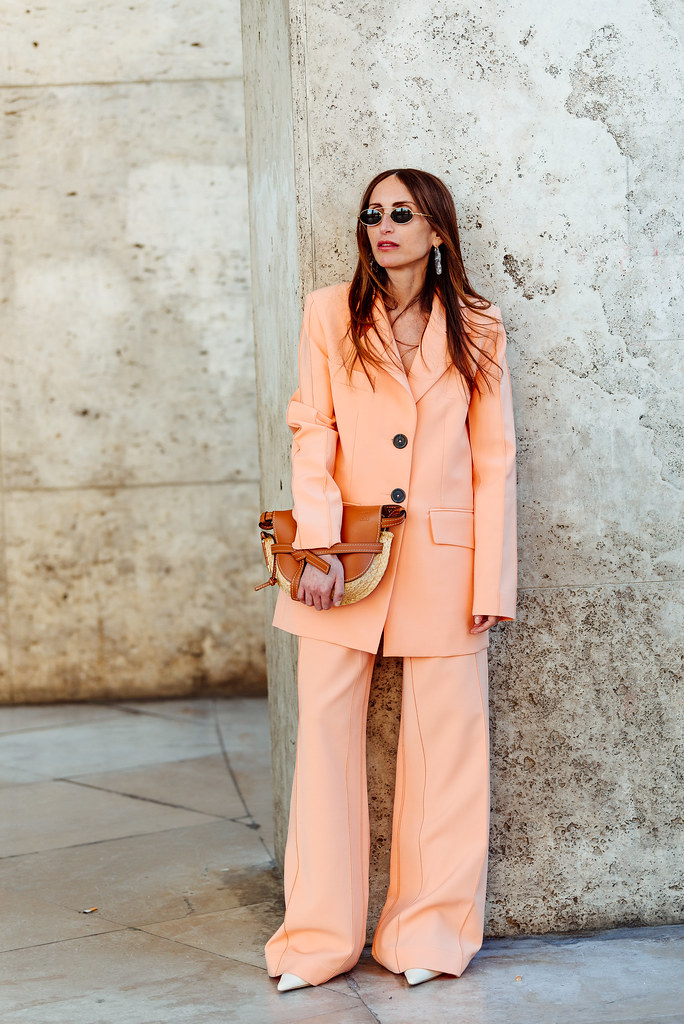 Woman  in a pink suit