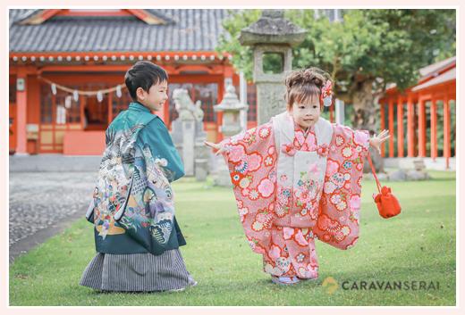 秋葉神社(静岡県浜松市中区)で七五三 兄弟同時に 男の子と女の子が和装