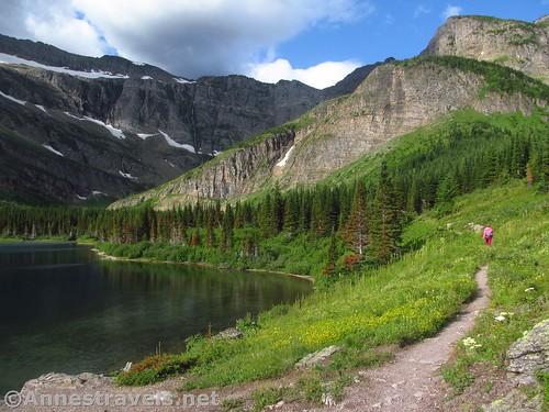 Walking along Bullhead Lake, Glacier National Park, Montana
