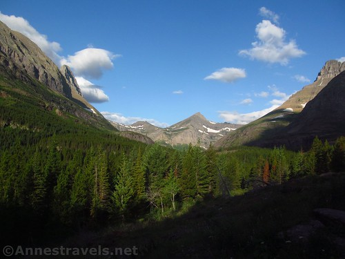 Views of the valley and mountains above Fishercap Lake, Glacier National Park, Montana