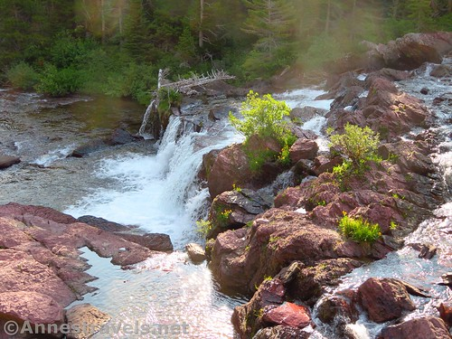 Looking down on Red Rock Falls, Glacier National Park, Montana