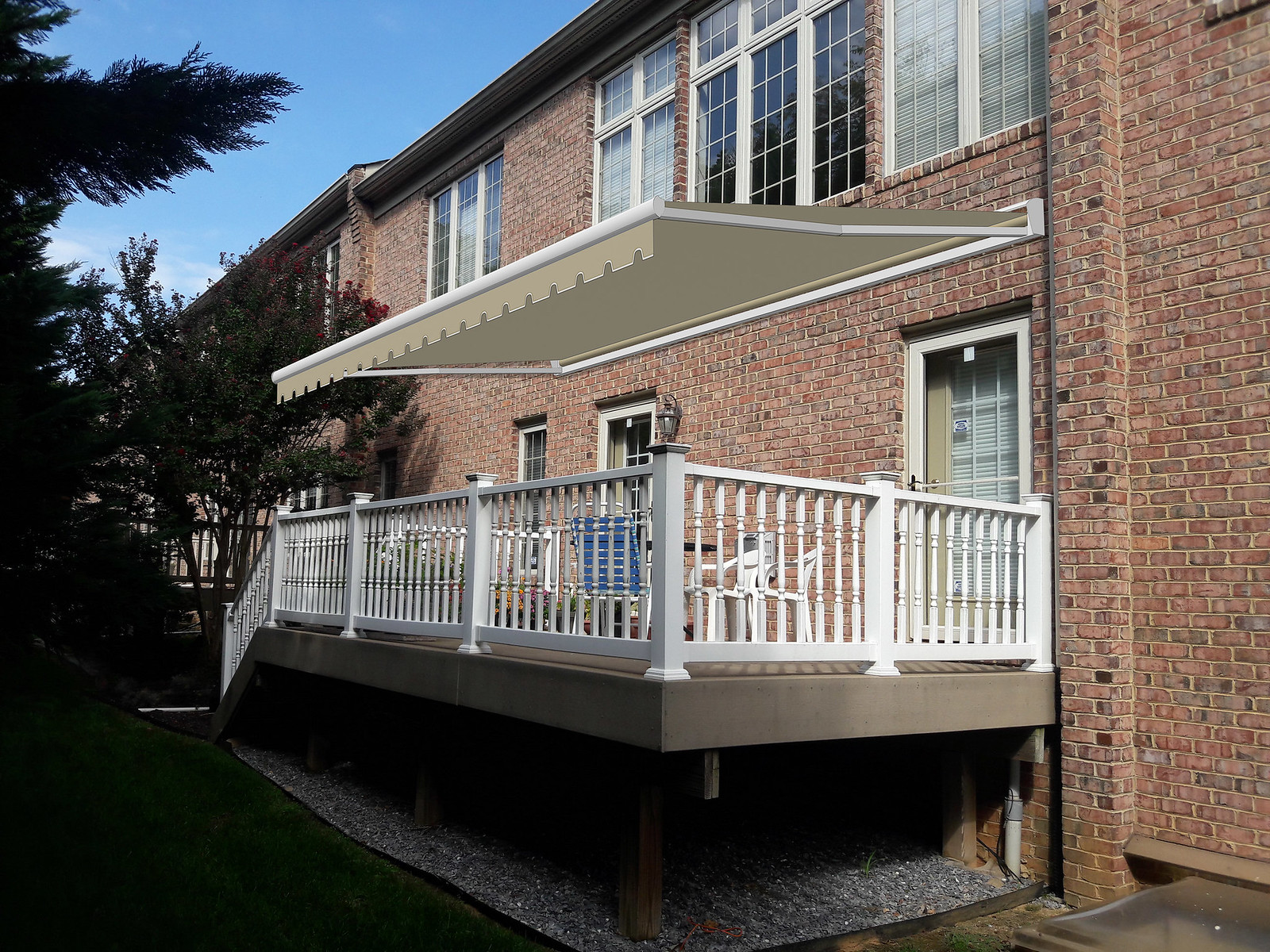 Retractable Awning Deck Rendering Townhouse