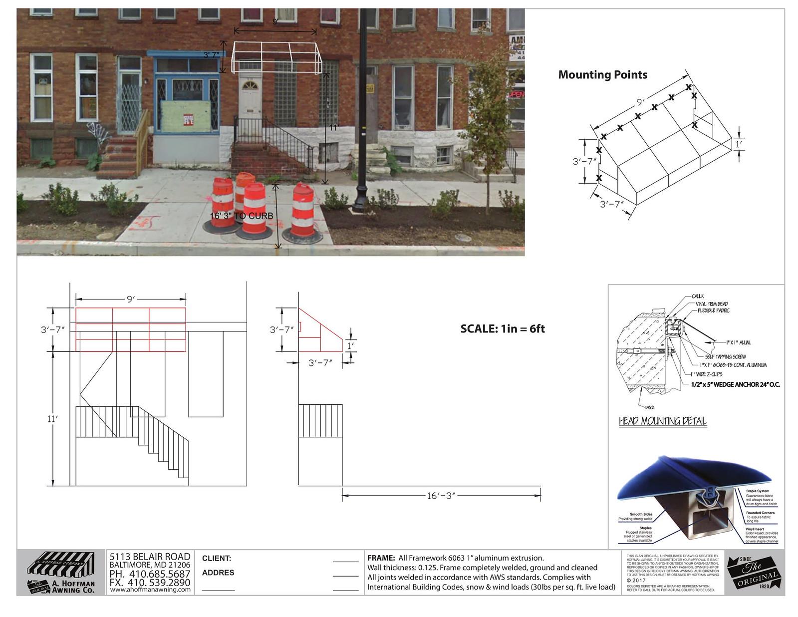 Cad Awning Design Baltimore-Hoffman Awning