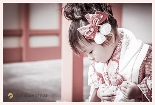 七五三 3歳の女の子 ヘアスタイル 髪飾り