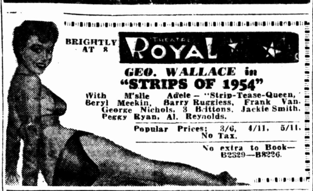 1954 advertisement for ''Strips of 1954'' at Theatre Royal