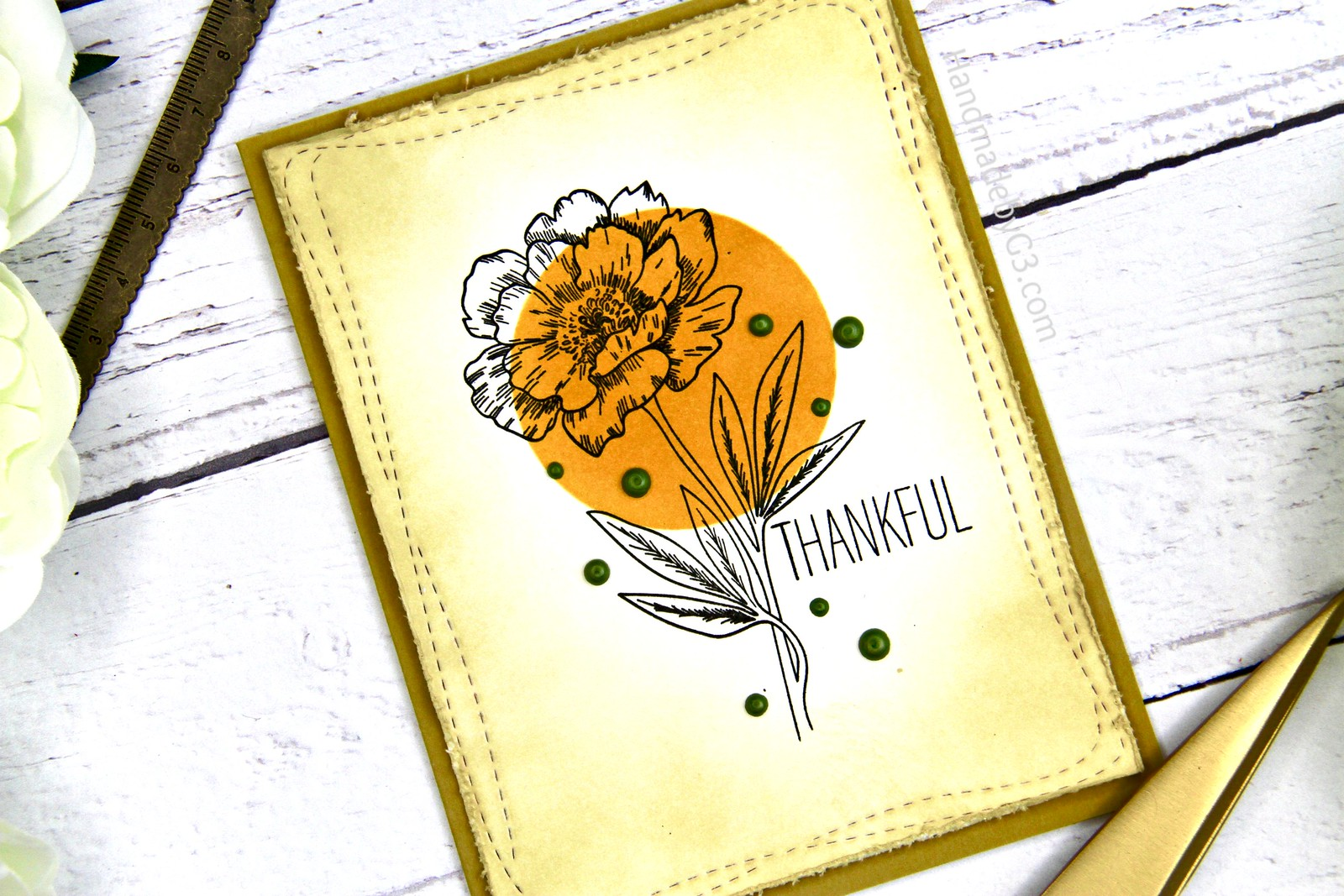 Thankful card set card #1 closeup