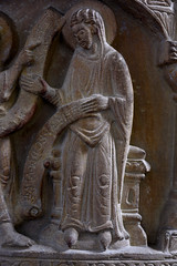 Freckenhorst, Westfalen, Stiftskirche St. Bonifatius, baptismal font, annunciation, detail