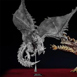 名副其實的金銀火龍!U-TREASURE《魔物獵人》金火龍 銀火龍 純金與純銀材質立體化造型雕像(リオレイア希少種 リオレウス希少種 フィギュア)