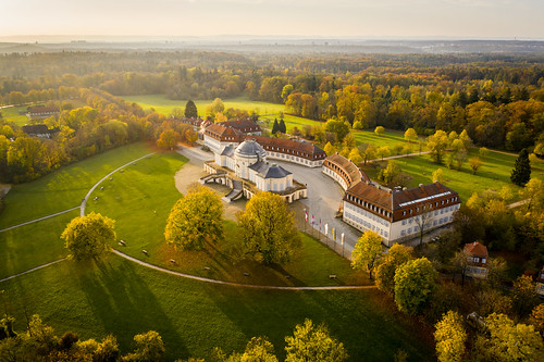 landscape view castle building old architecture historical rococo trees woods forest plain fall autumn season colors details light sunshine mood october shadows morning wanderlust aerial travel visit explore discover schlosssolitude solitudecastle stuttgart badenwürttemberg germany europe photography hobby drone djimavic2pro