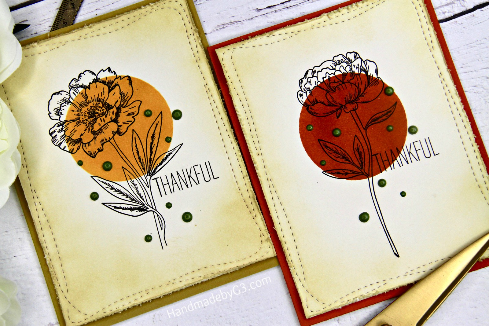 Thankful card set closeup