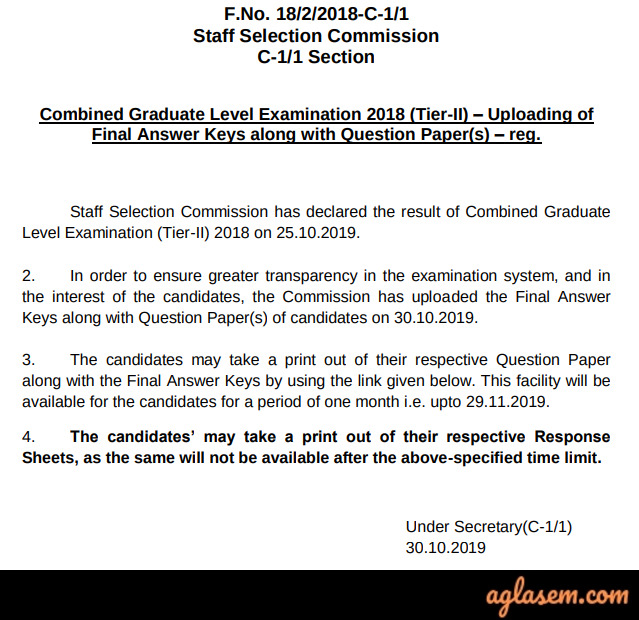 SSC CGL Answer Key 2019-2020 Tier 1 Official Out - Check at ssc.nic.in