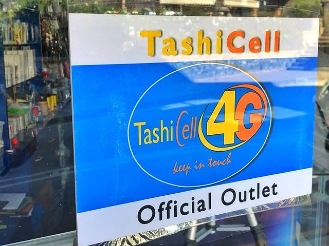 TashiCell es la compañía telefónica líder en Bután (Se pueden comprar tarjetas SIM de datos)