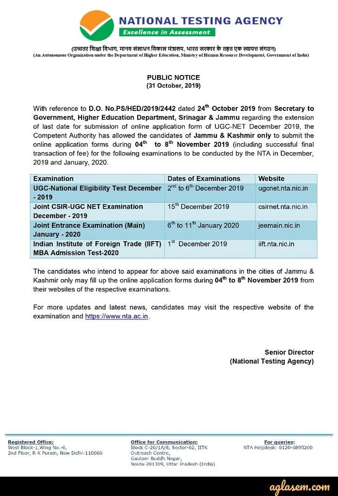 IIFT registration notice for J&K, ladakh students