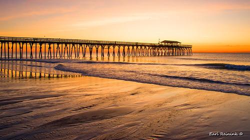 morning sunrise sunset peir ocean water color tide pattern architecture shores sand landscape seascape earlreinink southcarolina atlanticocean bird pigeon