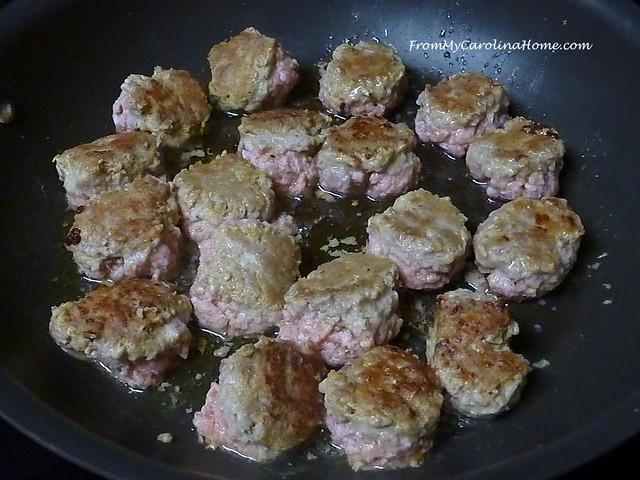 Veal or Turkey Meatballs with Basil Cream Sauce at FromMyCarolinaHome.com