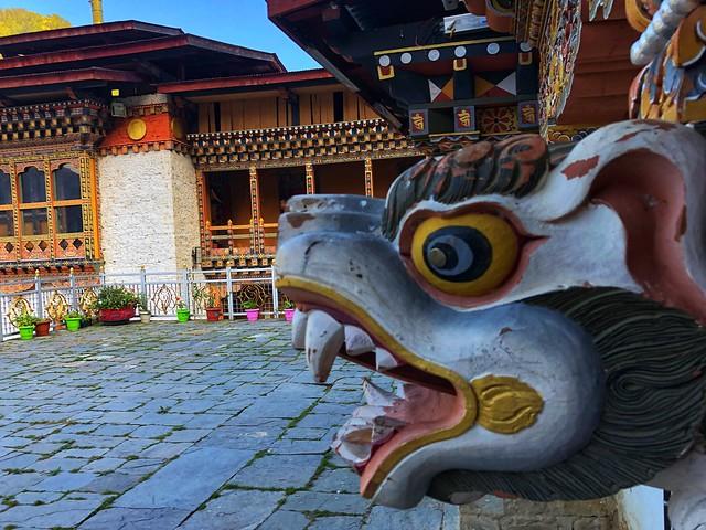 Detalle de un templo de Bután