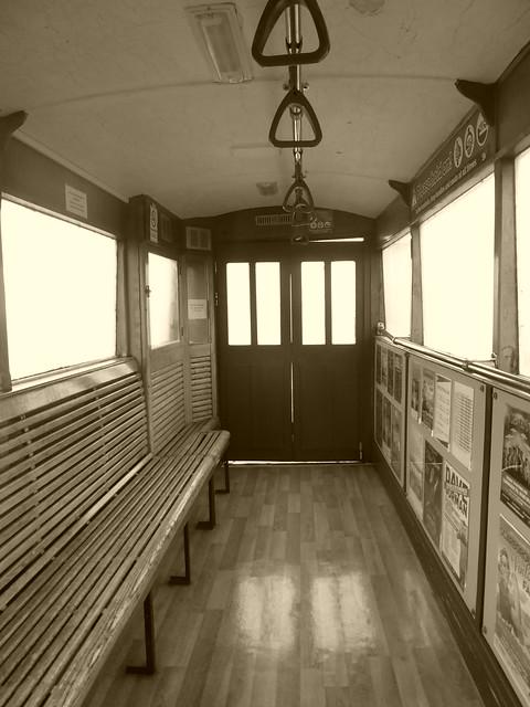 Interior of funicular car, Spa Cliff Railway, Scarborough