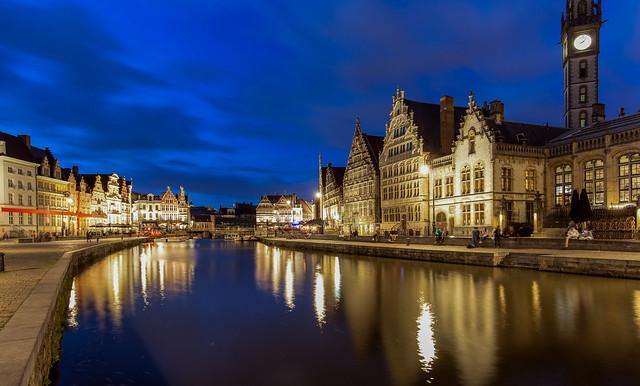Ghent historic city center Graslei and Korenlei 2019