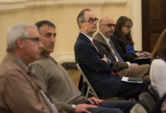 State Rep. Arthur O'Neill listens to testimony during a hearing by the Public Utility Regulatory Authority (PURA) to collect input regarding setting up a new rate class for houses of worship. The hearing was held inside the Veterans Hall of Waterbury City Hall.