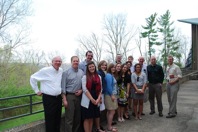 Scholars pose with Kentucky author, Wendell Berry in Carroll Co.