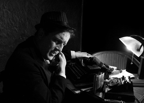 """""""Private Lies"""" – Improvised Film Noir Theatre at Rollins College. Photo credit: Annabelle Cuitino"""