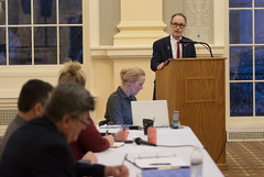 State Rep. Arthur O'Neill addresses the Chairperson and staff from the Public Utility Regulatory Authority (PURA) during public comment of a hearing to collect input regarding setting up a new rate class for houses of worship. The hearing was held inside the Veterans Hall of Waterbury City Hall.