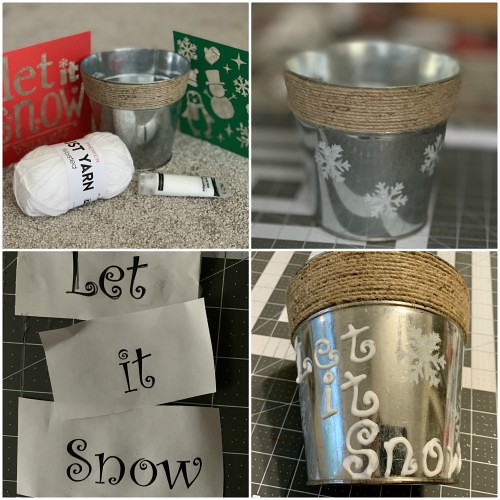 Stenciled Snowball Bucket Collage