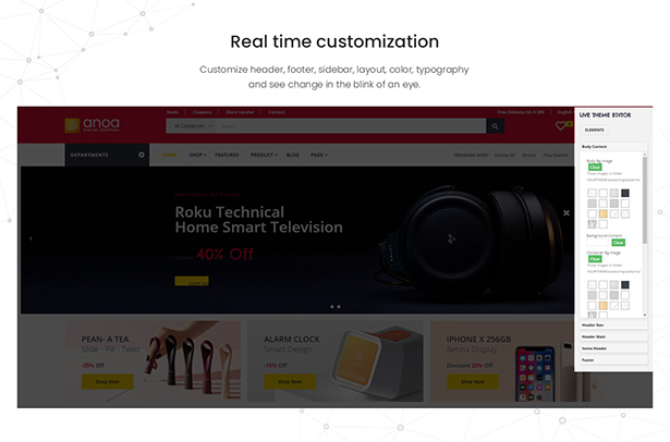 Leo Anoa Supermarket PrestaShop Template - Real-time customization