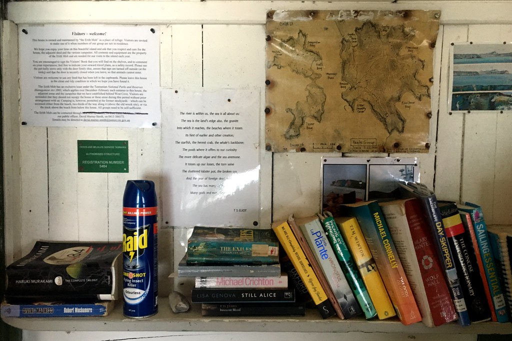 Shelf in the hut. Erith Island. Kent Group.