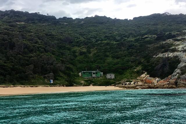 The hut. Erith Island. Kent Group.
