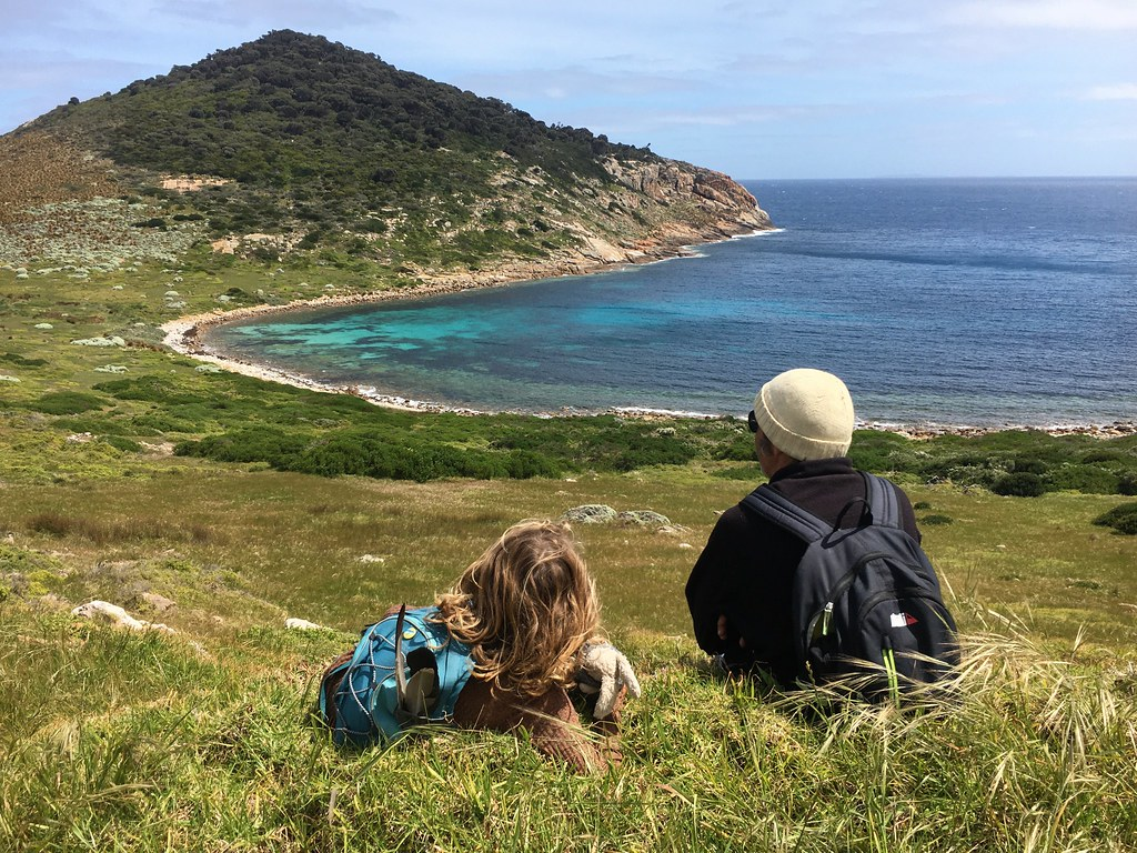 M and DB overlooking Wallabi Cove.  Erith Island.