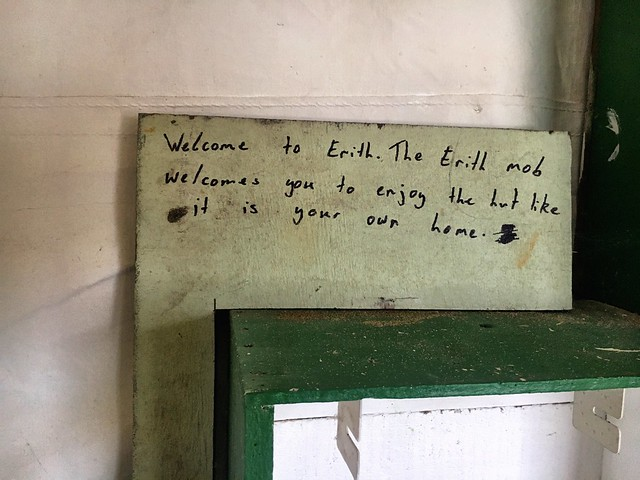 Inside the hut. Erith Island.