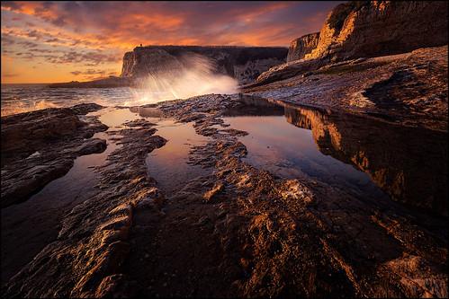 pantherbeach santacruz ca california ocean beach rocks sunset surf pacificocean splash landscape nature beauty