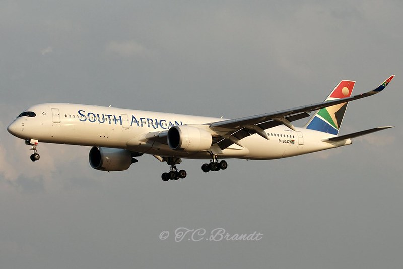 South African Airways A350-941 B-304Z delivery flight.