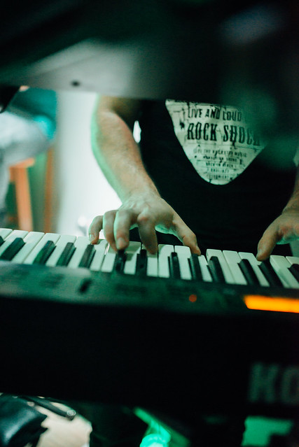 Keyboardist on stage during a live concert