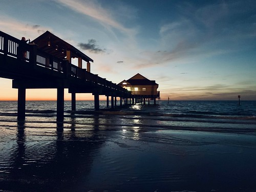 staring sea ocean clearwater florida sunset pier sky clouds spartan