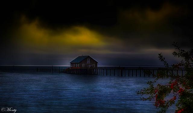 The boathouse Garibaldi harbor Oregon, USA