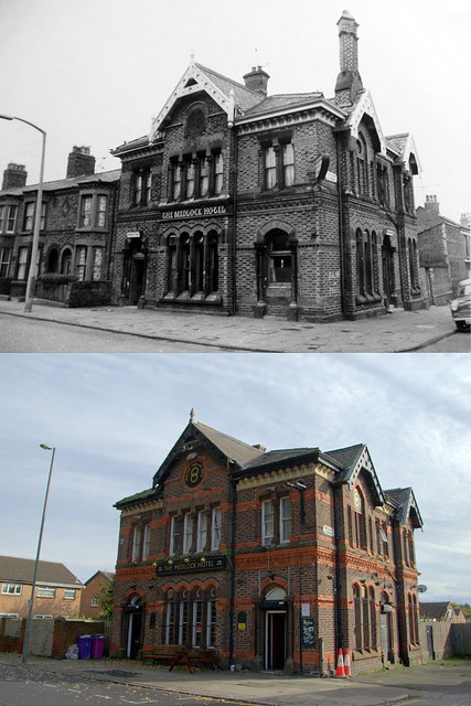 The Medlock Hotel, Rumney Road, Kirkdale, 1970s and 2019