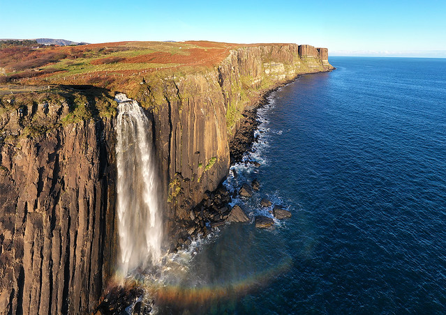 Kilt Rock and Mealt Falls on the Isle of Skye. The ancient 90 metre cliffs resemble a pleated kilt.