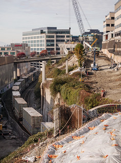 Progress on viaduct removal next to railroad tracks
