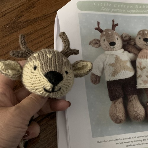 I started a Boy Deer too using Julie Williams Boy Fox pattern and her Deer supplement! So cute!