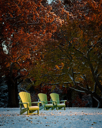 adirondackchair chair firstlight goldenhour il illinois lisle morning mortonarboretum nikonafnikkor80200mmf28d nikond800 snow sunrise autumn fall foliage trees
