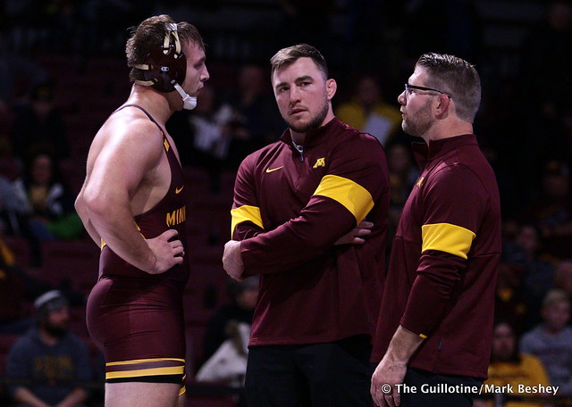 Chase O'Connor, Coach Trevor Brandvold, and Coach Brandon Eggum. 191101AMK0203
