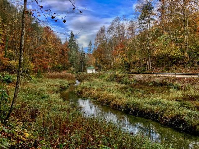 Reschmühlbach in autumn near Oberaudorf, Bavaria, Germany