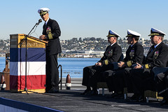 Capt. Carlos Sardiello, the outgoing commanding officer of USS Theodore Roosevelt (CVN 71), gives remarks during the aircraft carrier's change of command ceremony, Nov. 1. (U.S. Navy/Airman D.J. Schwartz)