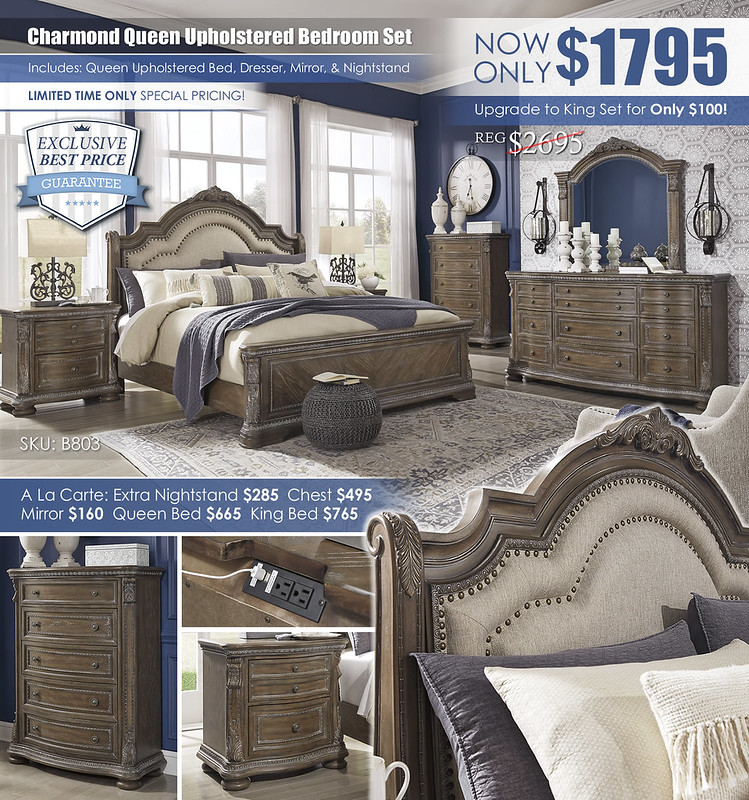 Charmond Brown Upholstered Sleigh Bedroom Special_B803
