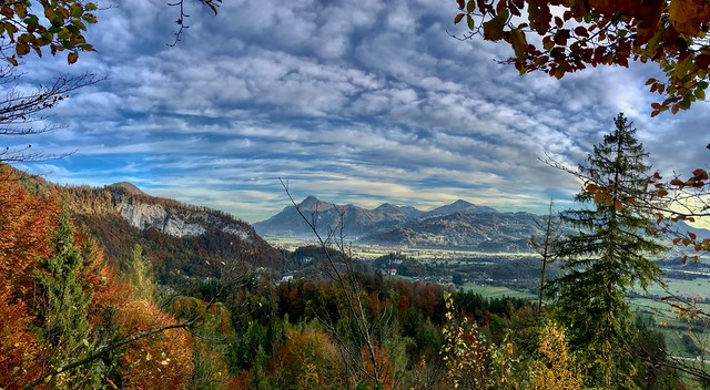 Autumnal panorama of the river Inn valley seen from Nußlberg near Kiefersfelden, Bavaria, Germany