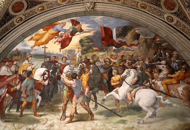 Raffaello Sanzio (1483-1520) - Incontro di Leone Magno con Attila (1513-14) - Stanza di Eliodoro  - Stanze di Raffaello - Musei Vaticani